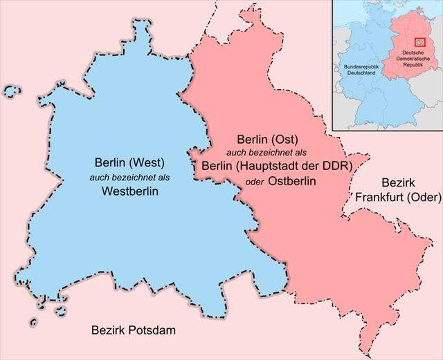 東西で分かれるベルリン(1949-1990)/©Lencer